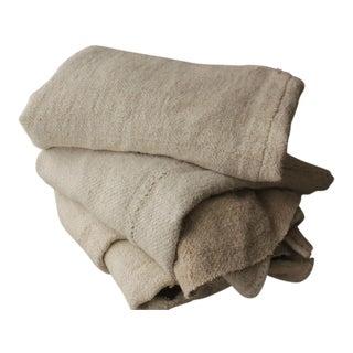 Antique Hemp Linen Upholstery Fabric - Set of 3 For Sale