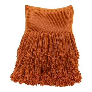 Betty Fringed Pillow in Burnt Orange For Sale
