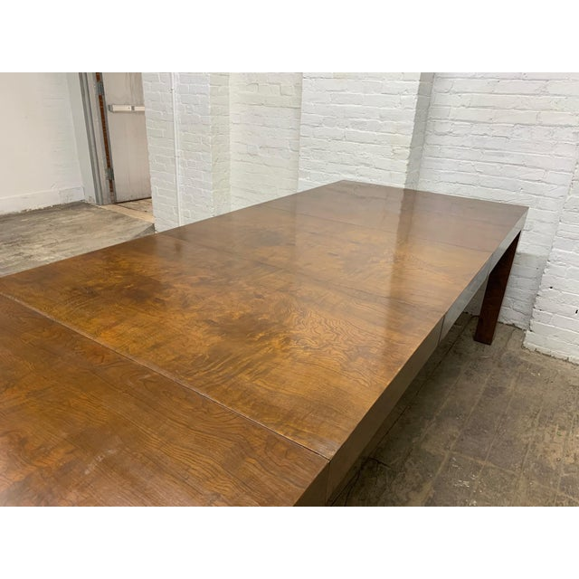1970s Milo Baughman Burl Wood Dining Table With Two Leaves For Sale - Image 5 of 9