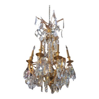 1900s French Dore Bronze & Crystal Chandelier For Sale