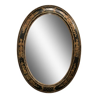 Vintage Chinoiserie Oval Ebonized and Gilt Mirror