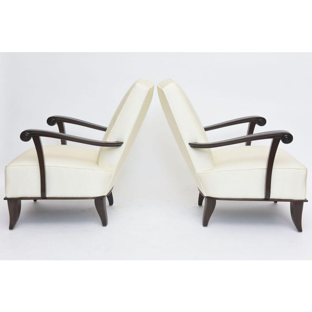 Contemporary Jean Pascaud Pair of French Modern Rosewood and Upholstered Armchairs, 1940s For Sale - Image 3 of 11