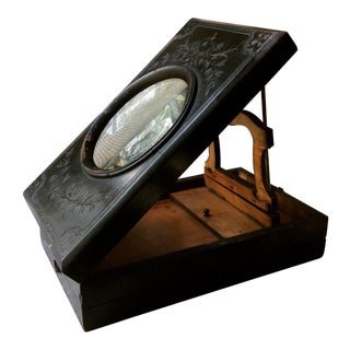 Antique Victorian Magnifying Box Wood Monoscope Magnifier Glass Viewer Display Case For Sale