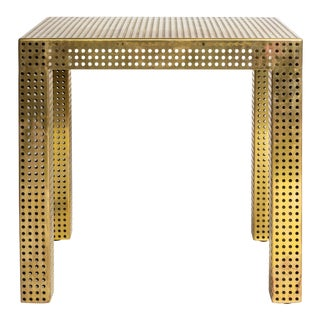 Matégot-Style Perforated Brass Console Table For Sale