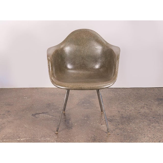 Abstract Eames Olive Green Fiberglass Armshell Chair For Sale - Image 3 of 9