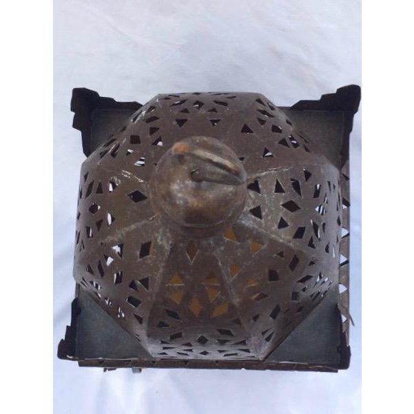 1960s Moroccan Iron Metal Work Candle Lantern For Sale - Image 4 of 5