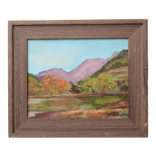 (Final Markdown) Vintage Oil Painting Signed Serene Mountainous Landscape For Sale
