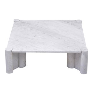 Jumbo White Marble Coffee Table by Gae Aulenti, 1970s For Sale