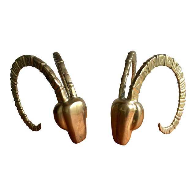 Brass Ram Horn Bookends- A Pair For Sale