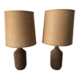 """Mid-Century Modern Cork Table Lamps 35.5"""" Excellent For Sale"""