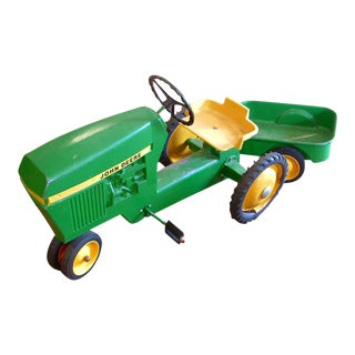 1960s John Deere Large Pedal Ride on Tractor and Trailer Set