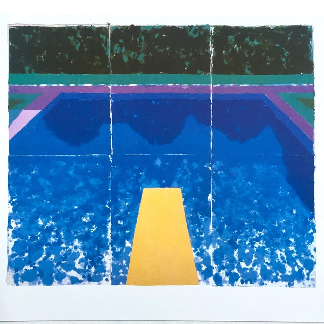 """David Hockney Vintage 1978 Rare Tyler Graphics Iconic Lithograph Print """" Day Pool With Three Blues ( Paper Pool #7 ) """" For Sale - Image 12 of 13"""