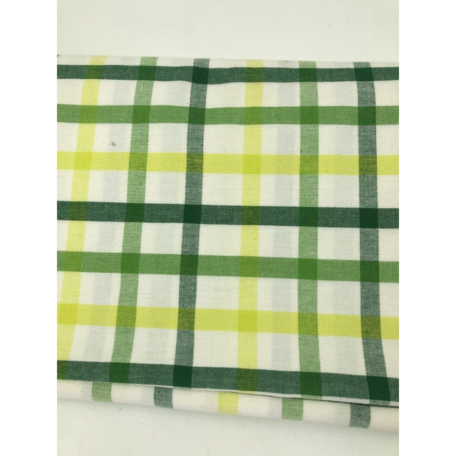 """Top Sheet Flat 100% Cotton Handloom Hand Woven White Green Yellow Citrus Madras Checks 80 X 60"""" Inch Pillow Covers New For Sale - Image 4 of 8"""
