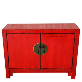Vintage Red Chinese Cabinet