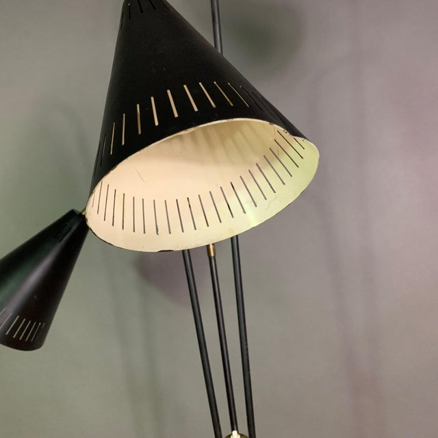 Mid-Century Modern Danish 1960s Lacquered Metal & Brass 3-Cone Floor Lamp For Sale - Image 3 of 10