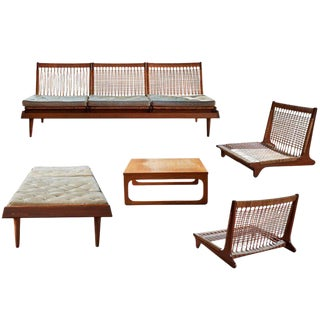 1950s Hans Olson Teak and Cane Modular Seating - Set of 9