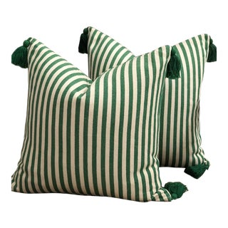 Green & Off White Throw Pillows With Tassel Trim - A Pair For Sale