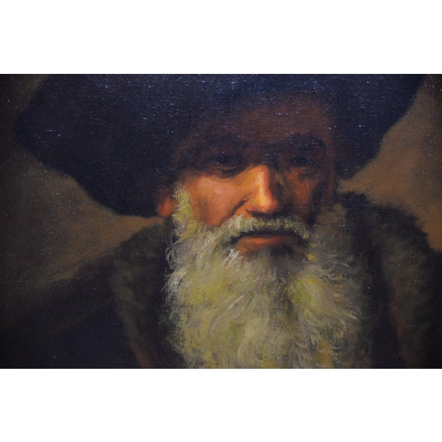 Portraiture Mid 20th Century Oil Portrait of a Bearded Man After Rembrandt For Sale - Image 3 of 9