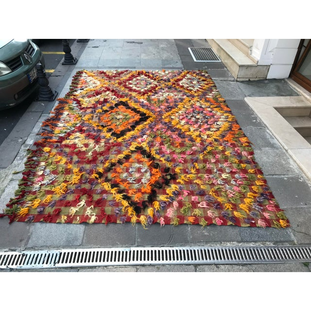 1960s Turkish Bohemian Floral Antique Handmade Rug For Sale - Image 9 of 9
