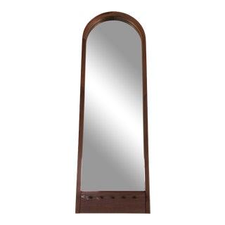 Mid Century Scandinavian Beveled Teak Cathedral Mirror For Sale