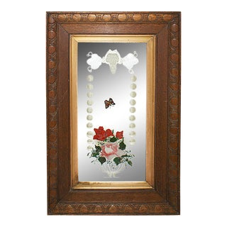 Vintage Mirror With Hand Painted Floral Motif For Sale