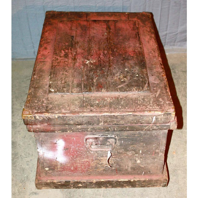 Wood Antique 34.25 In. Distressed Wooden Black Trunk on Wheels For Sale - Image 7 of 9