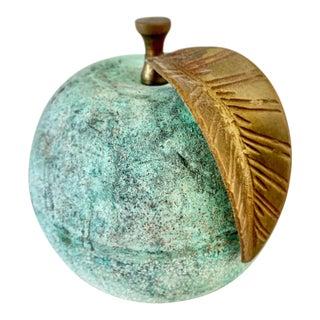 Rustic Aqua Stone & Brass Apple Decor Accent For Sale