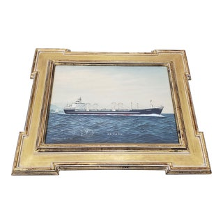 """""""M.S. Aleppo"""" Off the Coast of Japan Oil Portrait Painting by T Hagiwara C.1960s For Sale"""