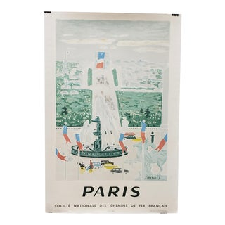 Vintage National Company of the French Railways Travel Lithograph Poster C.1957 For Sale