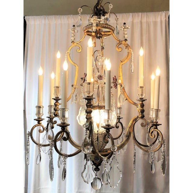 Belle Epoque Pair Antique French Iron and Crystal Chandeliers, Circa 1890. For Sale - Image 3 of 3