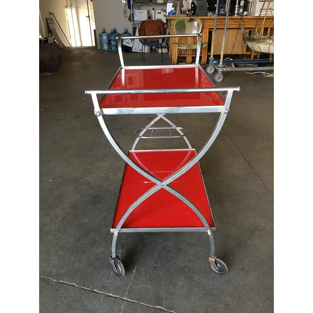Jacques Adnet Inspired Chromed Aluminum Bar Cart, 1960 For Sale In Los Angeles - Image 6 of 7
