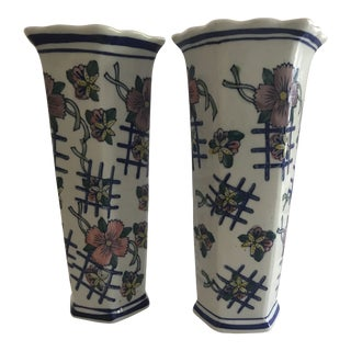 Blue White and Pink Scallop Floral Vases - a Pair For Sale