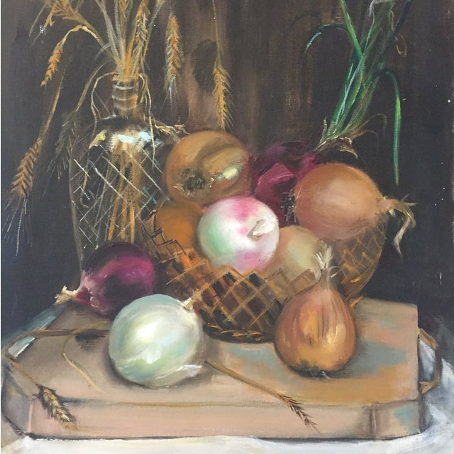 Stunning oil on canvas still life onion painting. Vibrant pops of plum accent the amazing beauty in this painting!...