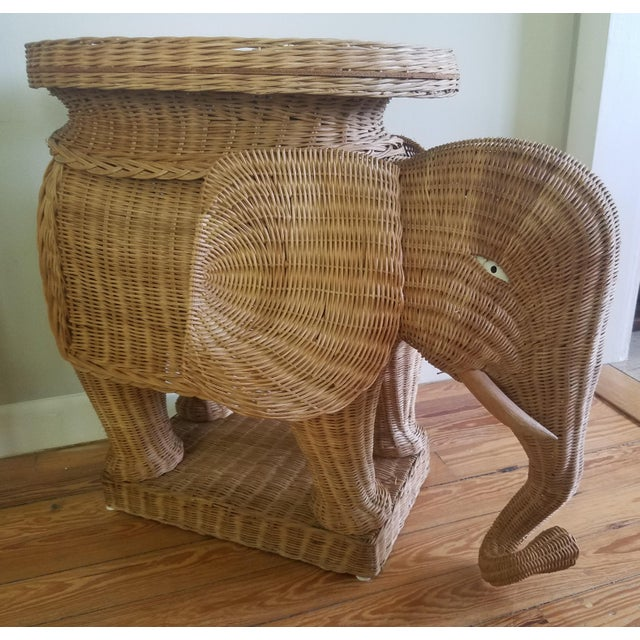 Wicker 1974 Boho Chic Thailand Natural Wicker Elephant Table For Sale - Image 7 of 9