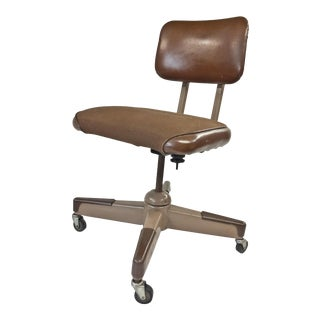 Vintage Industrial Brown Swivel Desk Chair For Sale
