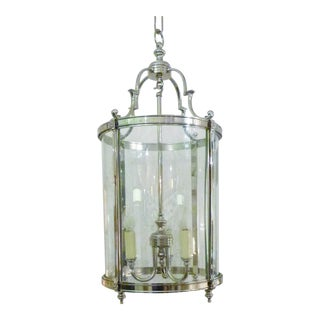 Transitional Style Nickel Lantern For Sale