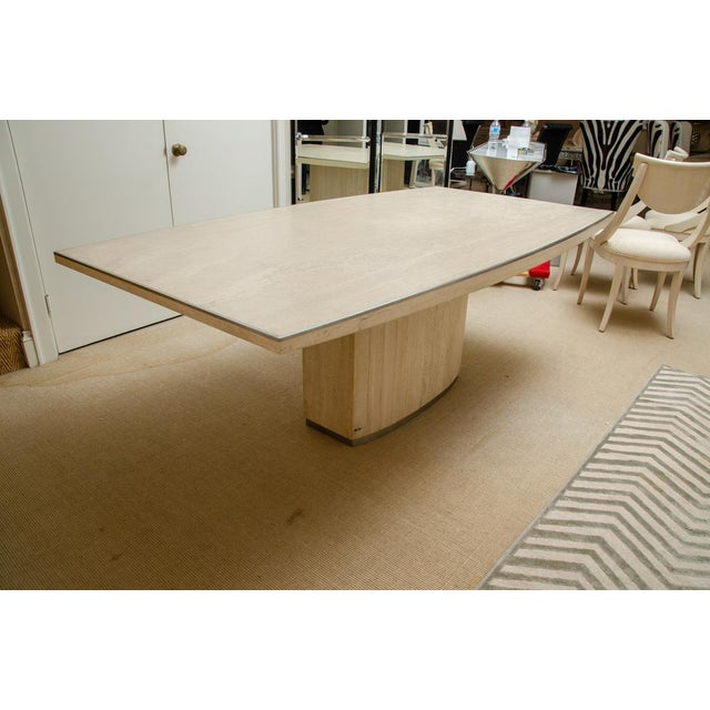 Mid-Century Modern Willy Rizzo Signed Travertine Dining Table For Sale - Image 3 of 7