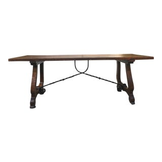 7 Ft. Antique French Carved Oak Dining Table Farm Country Catalan Spanish Iron For Sale