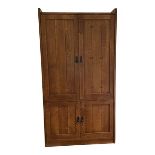 Vintage Mission Arts & Crafts Stickley Oak Armoire For Sale