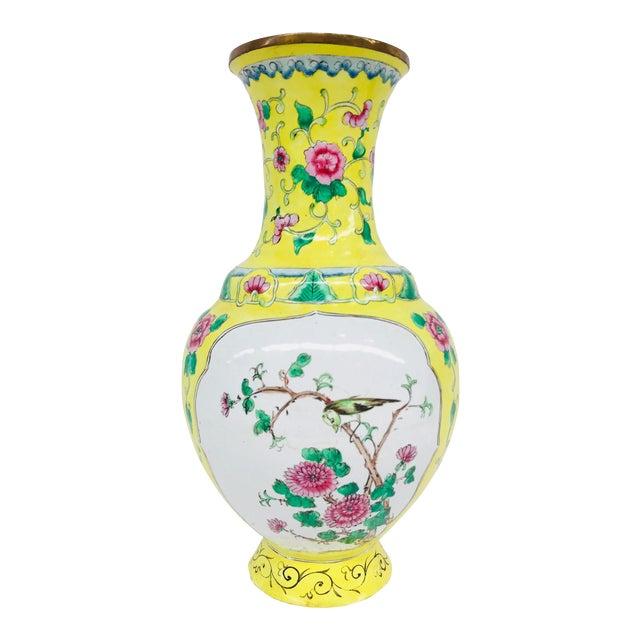 Yellow Cloisonné Floral Vase - Image 1 of 12