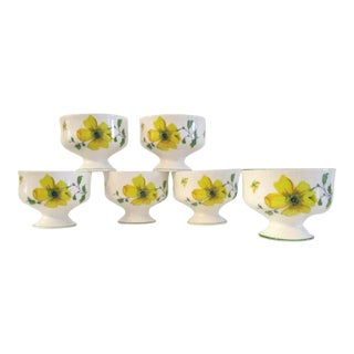1970s English Yellow Floral Compotes, Set of 6 For Sale