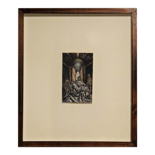 """1990s """"Dream of St. Peter's"""" Contemporary Pietà Inspired Abstract Gestural Watercolor Painting by Michael Collins, Framed For Sale"""