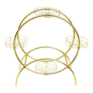 Mid-Century Hollywood Regency Brass Metal Circular 4-Tier Plant Stand | Glam Postmodern n.o.s. Round Multi-Tier Versatile Stand Display For Sale