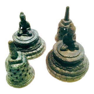 Stupa Form Bronze Buddha Temple Votives/Nepal - A Pair For Sale
