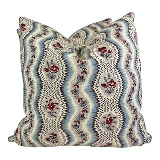 """Pierre Frey """"Greuze"""" Imprime a La Main Collection 22"""" Pillows-A Pair For Sale"""