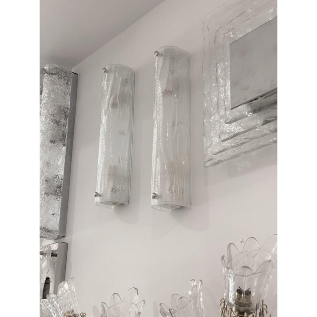 Glass Vintage Modern Ice Glass Sconces - a Pair For Sale - Image 7 of 13