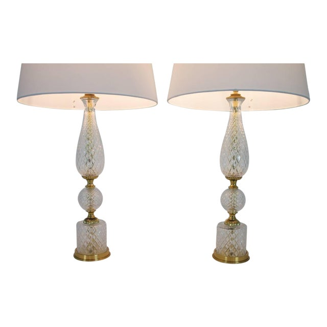 Pair of Textured Glass and Brass Table Lamps, 1960s For Sale