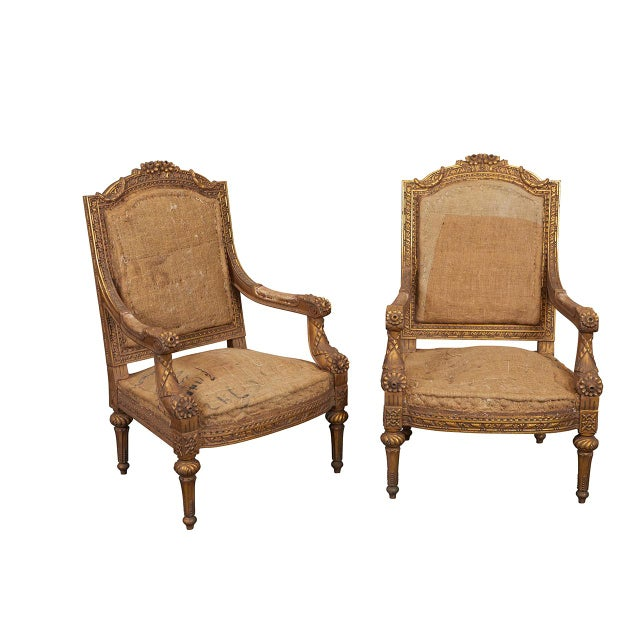 Gold Pair Louis XVI Style Armchairs For Sale - Image 8 of 8
