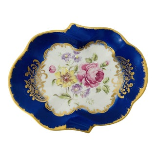 Vintage Hand Painted Fonde en 1789 Made in France Rose Design Ashtray/Trinket Tray For Sale