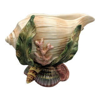 Fitz and Floyd Oceania Shell and Seaweed Ceramic Creamer/ Gravy Boat For Sale